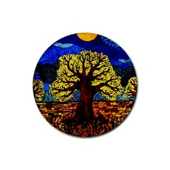 Tree Of Life Rubber Round Coaster (4 Pack)