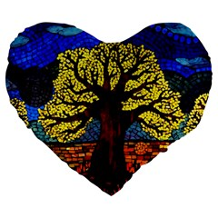 Tree Of Life Large 19  Premium Flano Heart Shape Cushions by BangZart