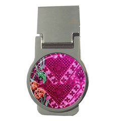 Pink Batik Cloth Fabric Money Clips (round)  by BangZart