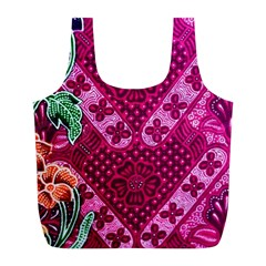 Pink Batik Cloth Fabric Full Print Recycle Bags (l)