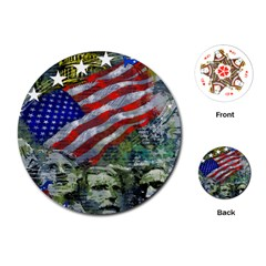 Usa United States Of America Images Independence Day Playing Cards (round)  by BangZart