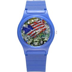 Usa United States Of America Images Independence Day Round Plastic Sport Watch (s) by BangZart