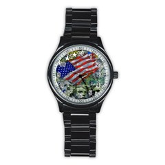 Usa United States Of America Images Independence Day Stainless Steel Round Watch by BangZart