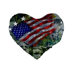 Usa United States Of America Images Independence Day Standard 16  Premium Flano Heart Shape Cushions by BangZart
