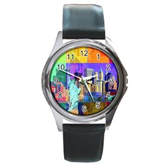 New York City The Statue Of Liberty Round Metal Watch