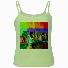 New York City The Statue Of Liberty Green Spaghetti Tank
