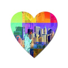 New York City The Statue Of Liberty Heart Magnet by BangZart