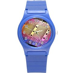 Optics Electronics Machine Technology Circuit Electronic Computer Technics Detail Psychedelic Abstra Round Plastic Sport Watch (s) by BangZart