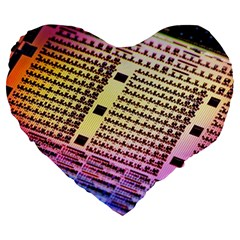 Optics Electronics Machine Technology Circuit Electronic Computer Technics Detail Psychedelic Abstra Large 19  Premium Heart Shape Cushions