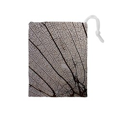 Sea Fan Coral Intricate Patterns Drawstring Pouches (medium)  by BangZart