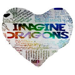 Imagine Dragons Quotes Large 19  Premium Flano Heart Shape Cushions by BangZart