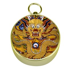 Chinese Dragon Pattern Gold Compasses by BangZart