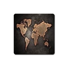 Grunge Map Of Earth Square Magnet by BangZart