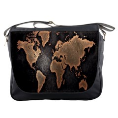 Grunge Map Of Earth Messenger Bags