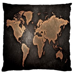 Grunge Map Of Earth Large Cushion Case (two Sides) by BangZart