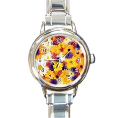 Colorful Flowers Pattern Round Italian Charm Watch by BangZart