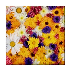 Colorful Flowers Pattern Tile Coasters