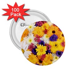 Colorful Flowers Pattern 2 25  Buttons (100 Pack)