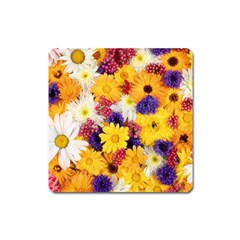 Colorful Flowers Pattern Square Magnet
