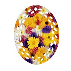 Colorful Flowers Pattern Ornament (oval Filigree)
