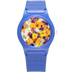 Colorful Flowers Pattern Round Plastic Sport Watch (s)