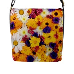 Colorful Flowers Pattern Flap Messenger Bag (l)