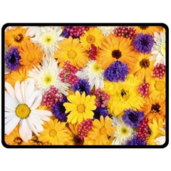 Colorful Flowers Pattern Double Sided Fleece Blanket (large)