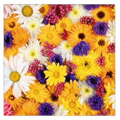 Colorful Flowers Pattern Large Satin Scarf (square)