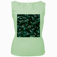 Old Spiderwebs On An Abstract Glass Women s Green Tank Top by BangZart