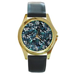Old Spiderwebs On An Abstract Glass Round Gold Metal Watch