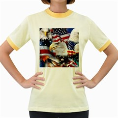 United States Of America Images Independence Day Women s Fitted Ringer T-shirts by BangZart