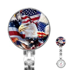 United States Of America Images Independence Day Stainless Steel Nurses Watch by BangZart