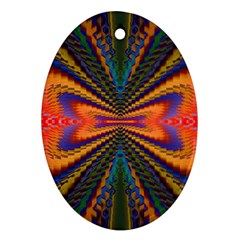 Casanova Abstract Art Colors Cool Druffix Flower Freaky Trippy Oval Ornament (two Sides)
