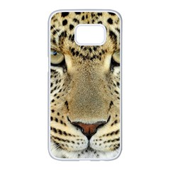 Leopard Face Samsung Galaxy S7 Edge White Seamless Case by BangZart
