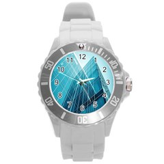 Glass Bulding Round Plastic Sport Watch (l)