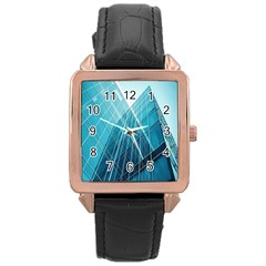 Glass Bulding Rose Gold Leather Watch