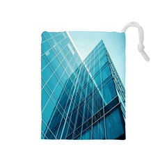 Glass Bulding Drawstring Pouches (medium)  by BangZart