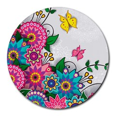 Flowers Pattern Vector Art Round Mousepads