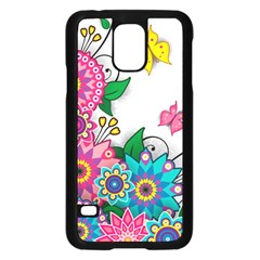 Flowers Pattern Vector Art Samsung Galaxy S5 Case (black) by BangZart