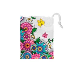 Flowers Pattern Vector Art Drawstring Pouches (small)