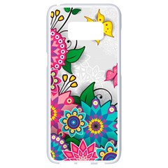 Flowers Pattern Vector Art Samsung Galaxy S8 White Seamless Case
