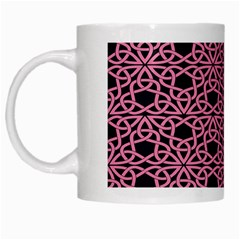 Triangle Knot Pink And Black Fabric White Mugs by BangZart