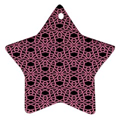Triangle Knot Pink And Black Fabric Star Ornament (two Sides) by BangZart
