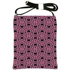 Triangle Knot Pink And Black Fabric Shoulder Sling Bags
