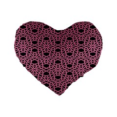 Triangle Knot Pink And Black Fabric Standard 16  Premium Heart Shape Cushions by BangZart