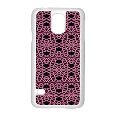 Triangle Knot Pink And Black Fabric Samsung Galaxy S5 Case (white)