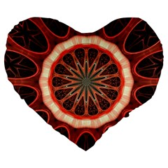 Circle Pattern Large 19  Premium Flano Heart Shape Cushions by BangZart