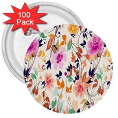 Vector Floral Art 3  Buttons (100 Pack)
