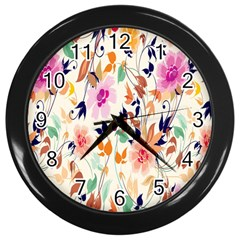 Vector Floral Art Wall Clocks (black)