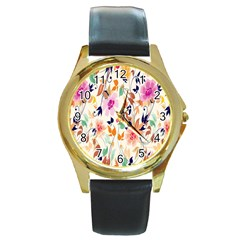 Vector Floral Art Round Gold Metal Watch